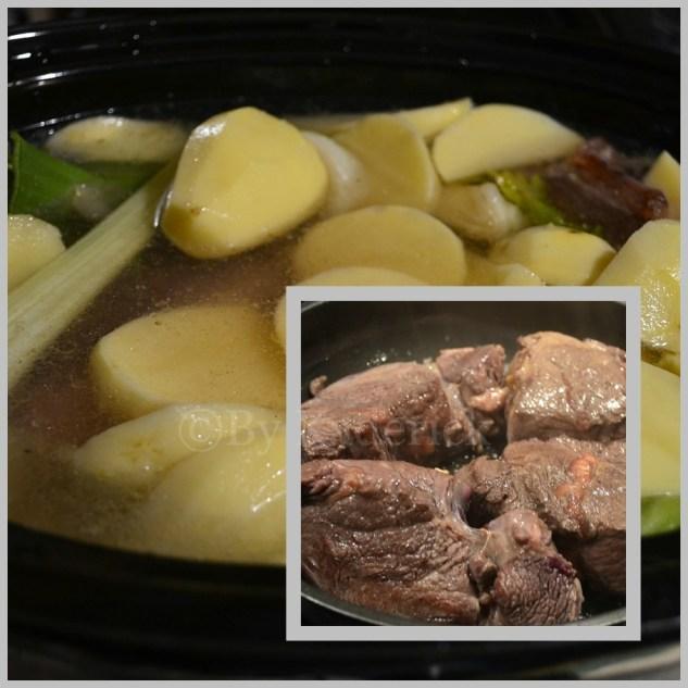 Cuisson du pot au feu à la mijoteuse avec viande de boeuf et légumes bio