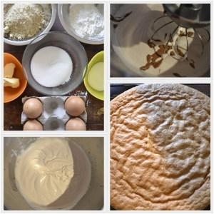 Préparation du gâteau aux amandes avec une crème légère au praliné