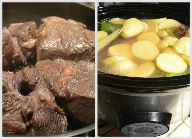 Préparation de la recette traditionnelle du pot au feu cuit à la mijoteuse - plat du jour
