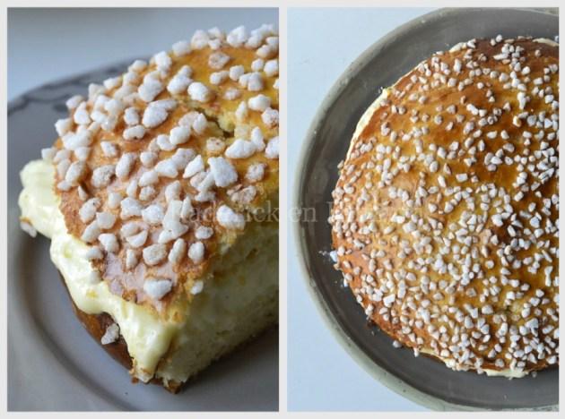 Recette-dessert-Tarte Tropézienne saupoudré de sucre en grains