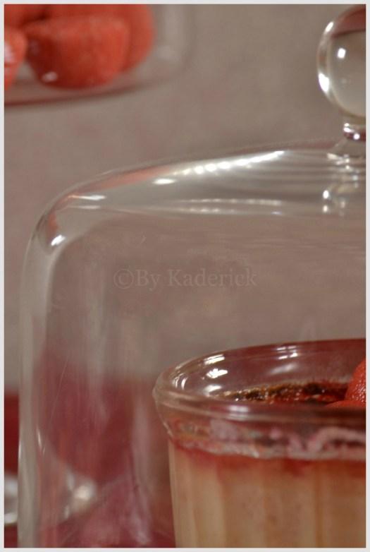 Recette-Creme brulee aux fraises tagada sous cloche-dessert