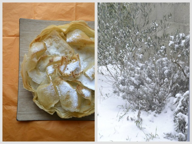 Recette de la croustade aux pommes avec des feuilles de brick saupoudré de sucre glace, un dessert pour un jour de neige