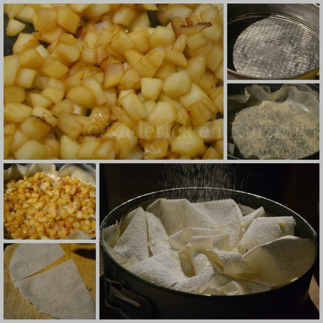 Préparation de la croustade aux pommes bio avec des feuilles de brick et saupoudré de sucre glace