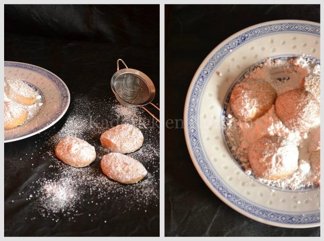 Recette petit prix - Présentation de sablés aux amandes et sucre glace dans une assiette chinoise pour un goûter