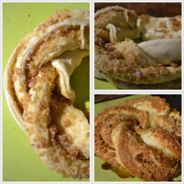 Tressage du Kringle Estonien avec une pâte briochée et de la nougatine aux amandes et aux noisettes