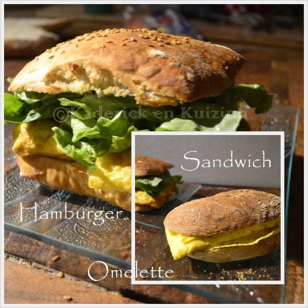 Recette Hamburger ou Sandwich à l'omelette pour le thème du mois de mars de Culino Versions