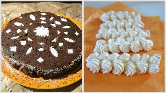 Recette du Gâteau au chocolat cannelle avec des meringues italienne en tortillon, un dessert facile et rapide