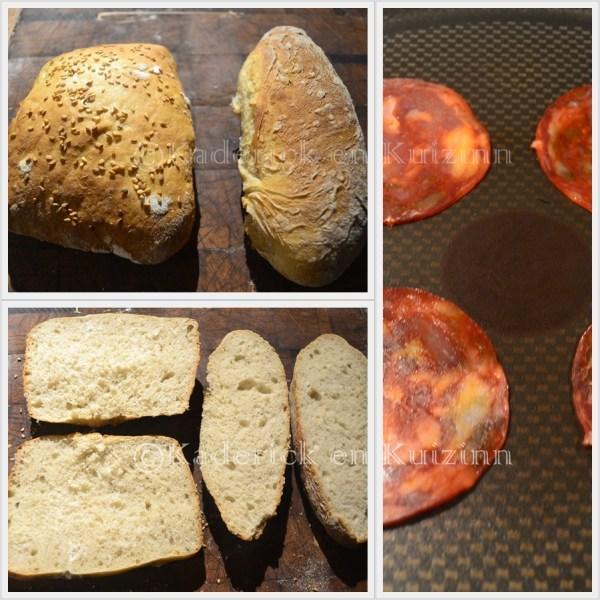 Préparation de l'hamburger avec du chorizo poêlé pour garnie l'omelette faites avec des oeufs bio