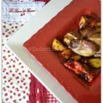 Recette de caille au chorizo cuit avec des pommes de terre, tomates confites et poivrons rouges