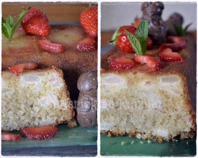 Recette du Cake moelleux aux poires et fraises bio pour Culino Versions