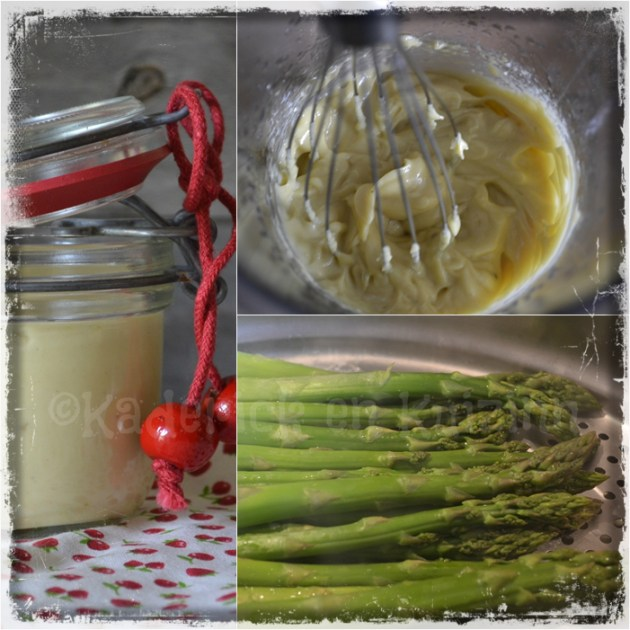 Préparation à la vapeur des asperges verte et sa sauce blanche pour une entrée du repas de Pâques