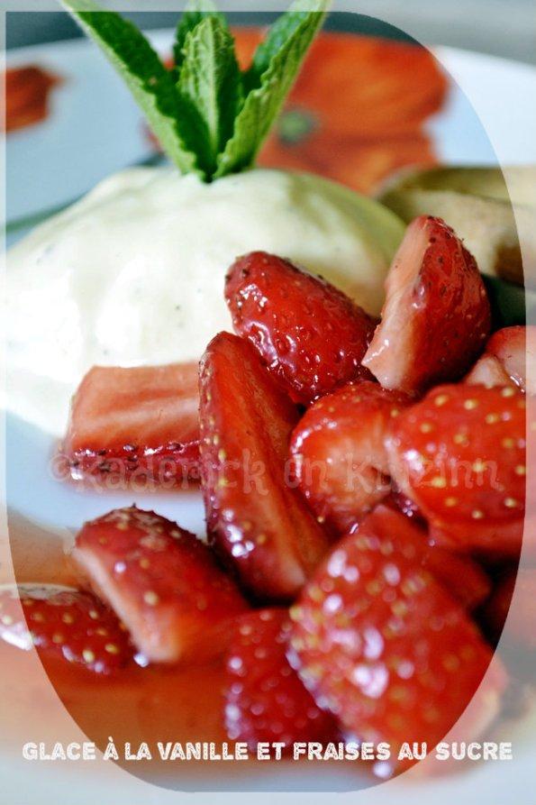 Recette de la glace à la vanille et fraises bio au sucre avec des navettes pour un dessert