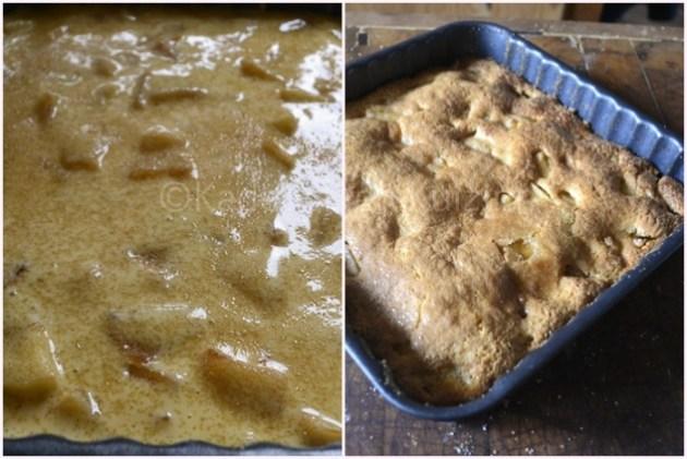 Cuisson recette gateau moelleux  aux pommes de Jackie dans un moule carré