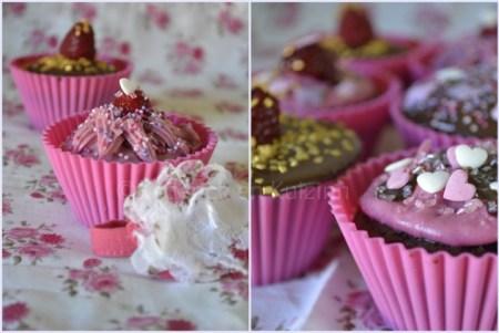 Cupcakes chocolat framboise décorés avec des perles et des coeurs roses et blancs vahiné