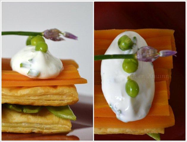 Recette du feuilleté printanier bio au carotte, asperge verte, petit pois gourmand et crème fraîche à la ciboulette