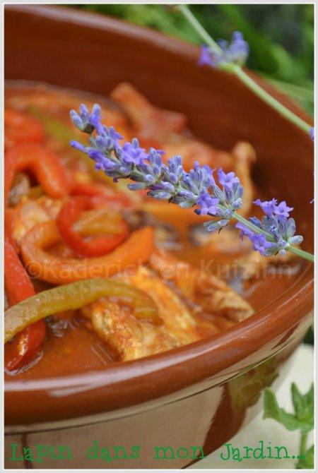 Cassolette de lapin à la basquaise pour le thème cuisine du soleil de Culino Versions