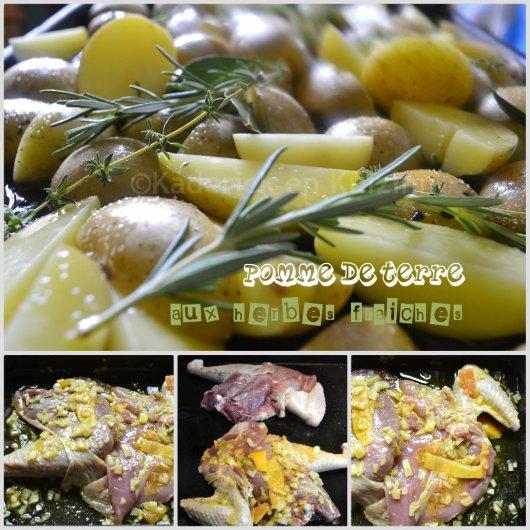Cuisson du poulet gingembre confit et pomme terre aux herbes fraîches sur le blog de ©Kaderick en Kuizinn