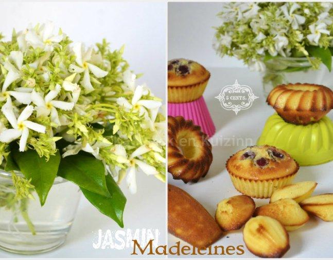 Madeleine au citron bio avec un bouquet de jasmin blanc de mon jardin