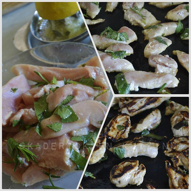 Préparation plancha poulet marinade au citron, thym, romarin, sauge et cuit à la plancha