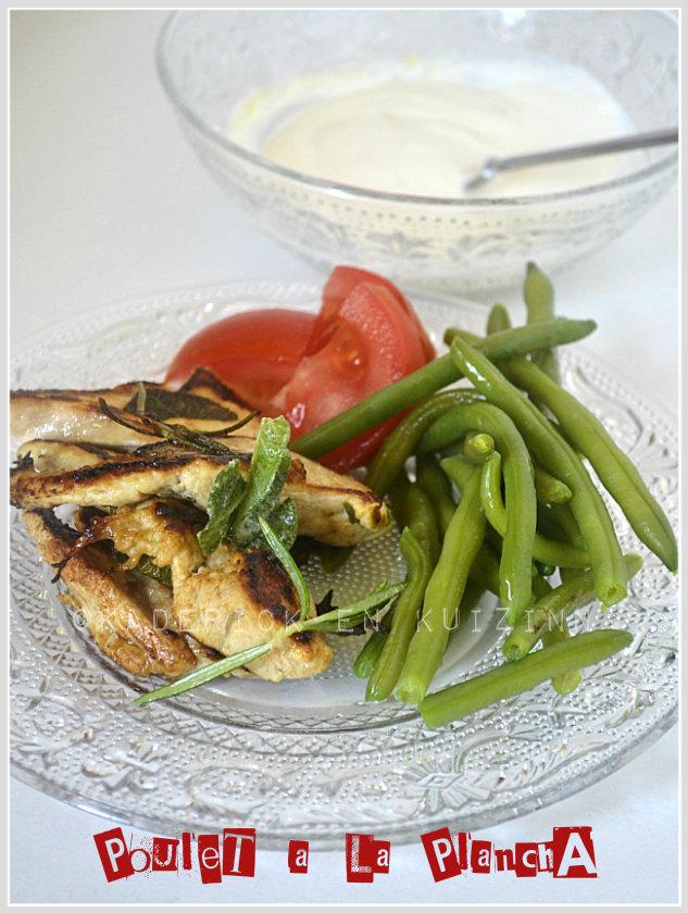 Présentation plancha poulet marinade au citron à la plancha avec une sauce blanche faites avec du St Moret ®