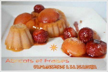 Recette d'abricots et fraises caramélisés à la plancha avec son sorbet à l'abricot maison