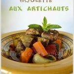 Présentation du tajine boulette aux artichauts et légumes bio et des épices pour une cuisine orientale