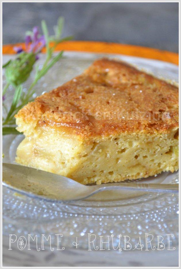 Part de gâteau aux pommes et rhubarbe bio un recette moelleuse au fromage blanc