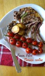 Dégustation du faux filet, tomate cerise bio en grappe et échalotes {Prince de Bretagne} à la plancha