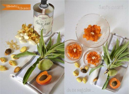 Préparation du dessert abricots bio, amandes fraîches & sucre à la fève tonka de Terre Exotique