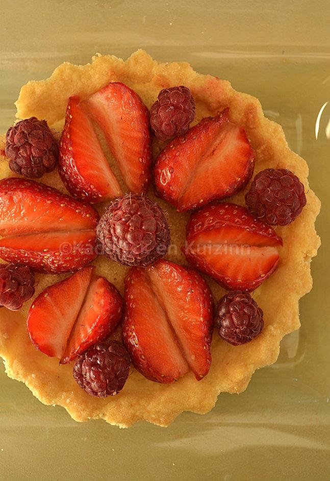 Recette tartelette amandine fraise framboise bio pour Culino Versions du mois de juillet