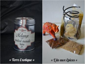 Partenariat Terre Exotique et L'ile aux Epices, produits offerts par 2 sites de ventes d'épices sur internet