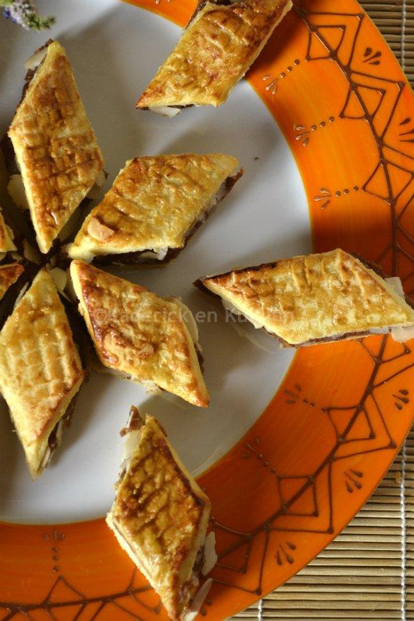 Présentation gateau à la pâte de dattes et amandes El Meraoui pour un dessert maghrébin