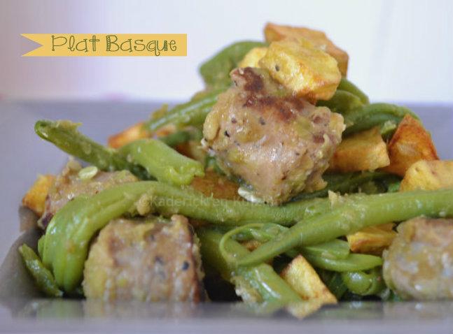 Recette plat basque de mon enfance avec de la saucisse de Toulouse, des frites et haricots verts bio