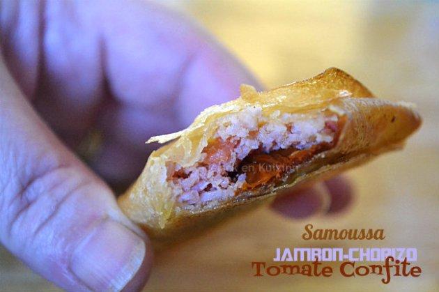 Recette samoussas jambon, chorizo et tomate confite pour un menu de cuisine orientale