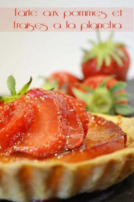 Dégustation tarte aux pommes caramélisées et fraises bio cuitent à la plancha - Kaderick en Kuizinn©
