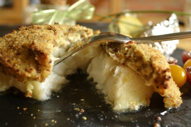 Recette facile dos de cabillaud crumble à la moutarde ancienne et chapelure pour une croûte relevée - Kaderick en Kuizinn©