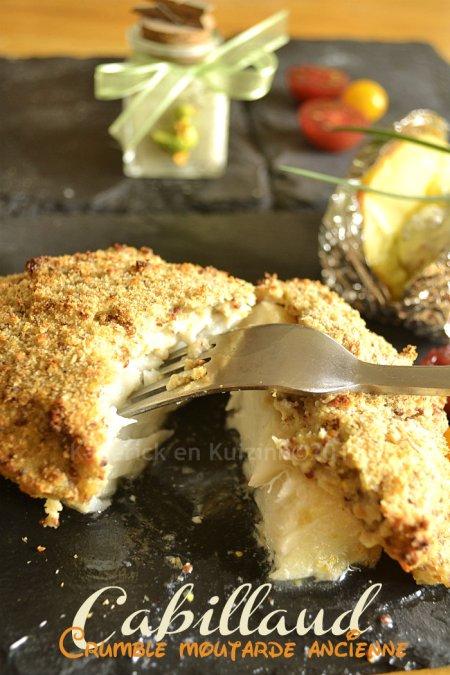 Recette simple dos de cabillaud crumble à la moutarde ancienne et chapelure pour une croûte relevée - Kaderick en Kuizinn©