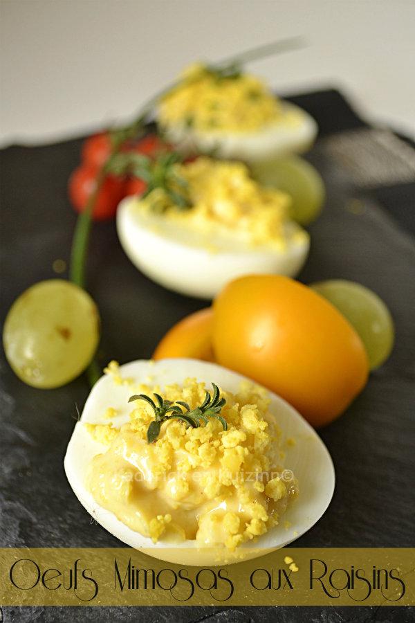 Dégustation d'une entrée oeufs mimosa aux raisins blancs bio pour une recette d'enfance faites à base de mayonnaise maison - Kaderick en Kuizinn©