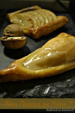 Ingrédients tarte aux pommes ou poires bio au chocolat et noix fraîches sur une pâte feuillée - Kaderick en Kuizinn©