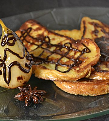 Recette poire épicée à la badiane, au chocolat cannelle Zaabär servie avec du pain perdu pour un dessert gourmand - Kaderick en Kuizinn©