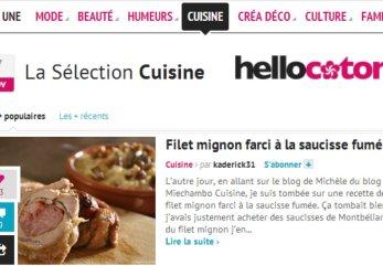 A la une cuisine d'Hellocoton filet mignon farci à la saucisse fumée en catégorie recette salée - Kaderick en Kuizinn©