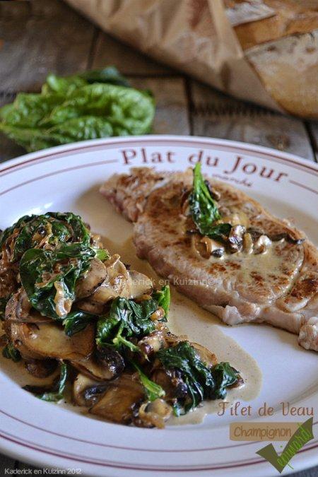 Recette du filet veau à la plancha, sauce champignons et épinards bio pour un repas de fêtes - Kaderick en Kuizinn©
