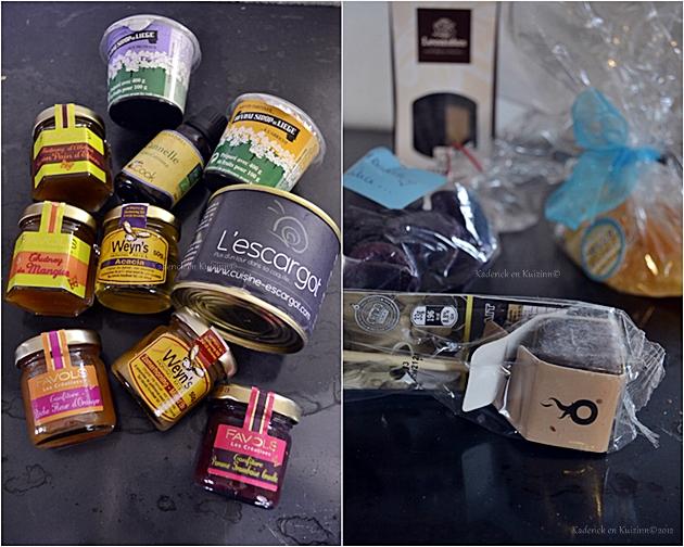 Colis rempli de produits et d'un livre de cuisine envoyé par Lyne pour avoir gagné à son concours - Kaderick en Kuizinn©