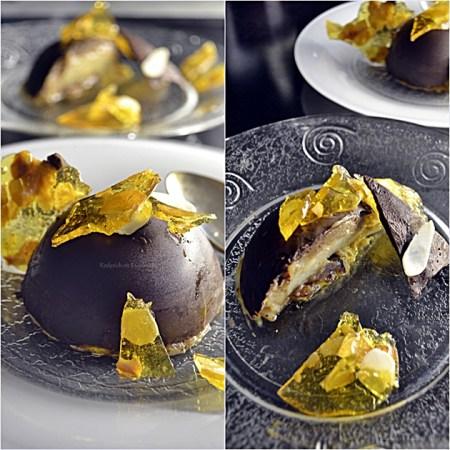 Recette dome ou demi-sphère chocolat à la poire et crème de marron avec des éclats de nougatine pour un dessert de Fêtes - Kaderick en Kuizinn©