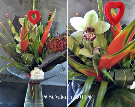 Bouquet de fleurs et orchidée de la St-Valentin offert par ♥ Eric ♥ - Kaderick en Kuizinn©2013