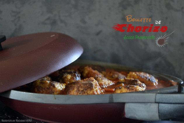 Recette des boulettes de chorizo à la sauce provençale maison cuitent dans ma poêle en granit de mon partenaire Granistyl® - Kaderick en Kuizinn©2013