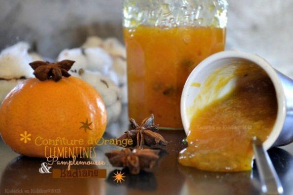 Recette confiture agrume à l'orange, clémentine, pamplemousse bio & badiane pour un mélange subtil entre les agrumes et à l'anis étoilé - Kaderick en Kuizinn©2013