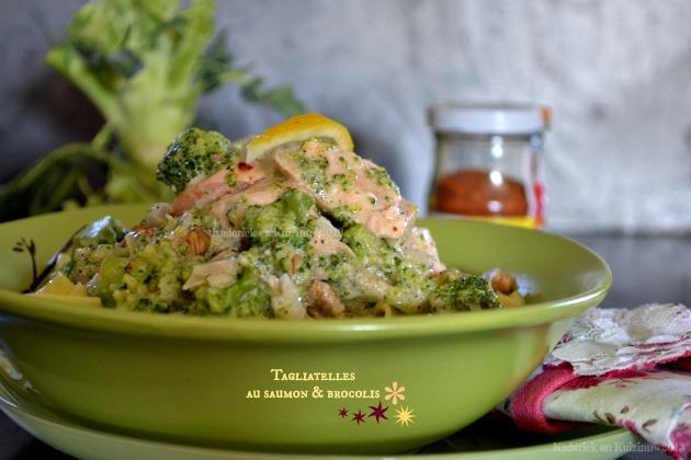 Recette de tagliatelles au saumon pimenté et brocolis bio à la vapeur avec une sauce au mascarpone - Kaderick en Kuizinn©2013