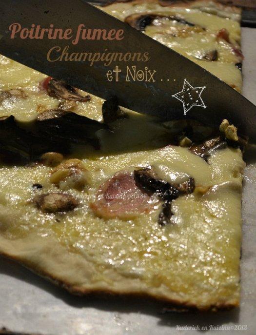 Recette plancha pizza à la crème, champignons frais et noix bio pour une version végétarienne - Kaderick en Kuizinn©2013