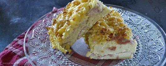 Présentation clafoutis pates ou gratin de pâtes au jambon & emmental avec des restes de pâtes - Kaderick en Kuizinn©2013